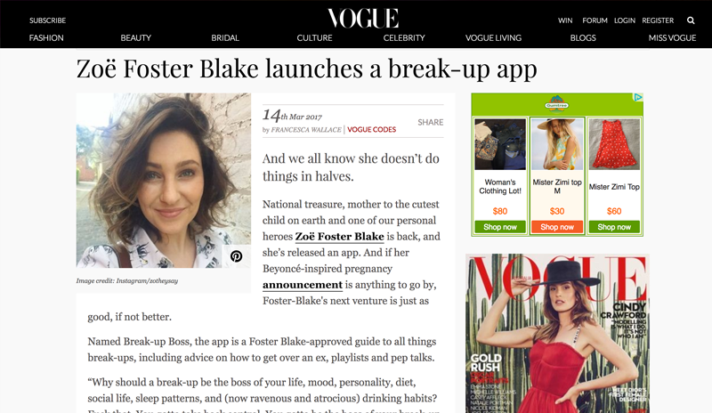 Vogue coverage of Break-Up Boss