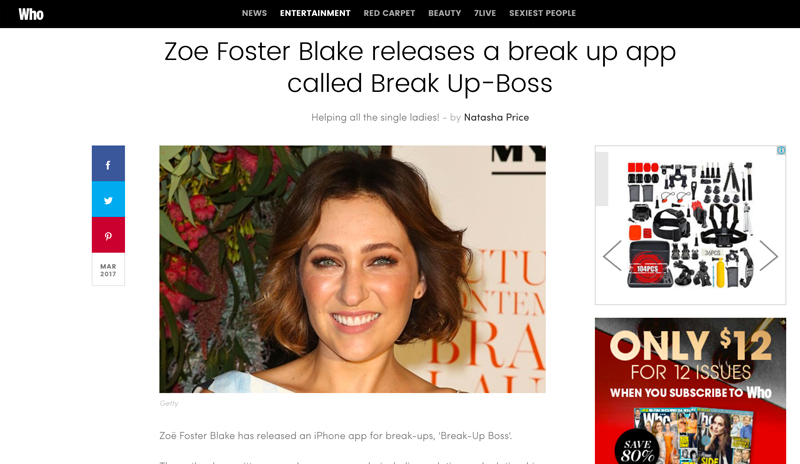 Who coverage of Break-Up Boss